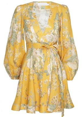 Zimmermann Amelie Tie Wrap Mini Floral Dress