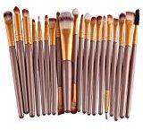 Fabal 20pcs/set Makeup Brush Set tools Make-up Toiletry Kit Wool Make Up Brush Set (Coffee)