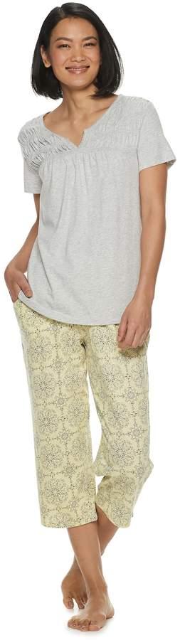 Croft & Barrow Women's Smocked Sleep Tee & Pajama Capri Set