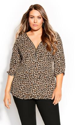 City Chic Cheetah Fling Top - cheetah