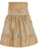 RED Valentino Strapless Fil Coup&eacute Tulle And Satin-Twill Mini Dress