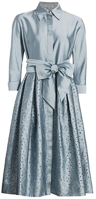 Teri Jon By Rickie Freeman Taffeta Laser Cut Shirtdress