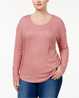 Almost Famous Trendy Plus Size Waffle-Knit Top