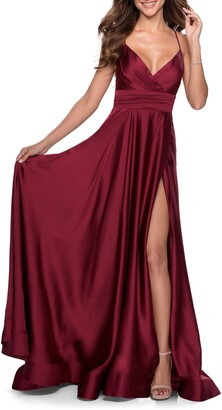 La Femme Satin Empire Waist Sleeveless Gown