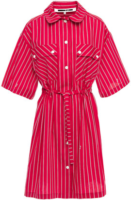 McQ Striped Cotton-poplin Mini Shirt Dress