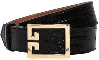 Givenchy 30MM CROC EMBOSSED LEATHER BELT