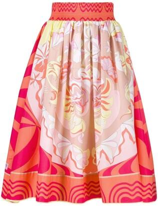 Emilio Pucci geometric print A-line skirt