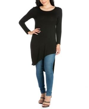 24seven Comfort Apparel Women's Long Sleeve Knee Length Asymmetrical Tunic Top