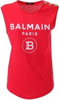 Balmain Logo Printed Sleeveless T-shirt
