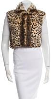 Adrienne Landau Leopard Print Rabbit Vest