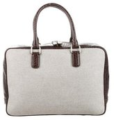 Giorgio Armani Embossed Leather-Trimmed Briefcase