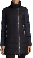 Moncler Aglaia Wool Coat w/Quilted Combo, Black
