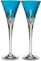 Waterford Lismore Pops Set Of 2 Aqua Lead Crystal Champagne Flutes