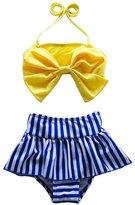 Three Babies Cute Baby Bikini Big Bowknot Stripe 2 Pieces Skirt Swimwear Sets (2T,)