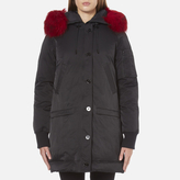 Kenzo Women's Removable Red Fur Lined Long Parka Black