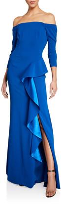 Carmen Marc Valvo Off-the-Shoulder 3/4-Sleeve Asymmetric Side Ruffle Gown