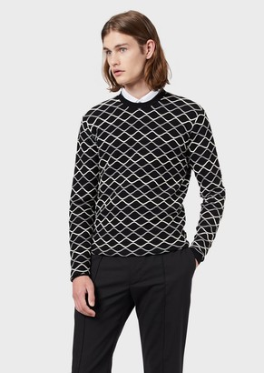 Emporio Armani Sweater With Embossed Wave Motif