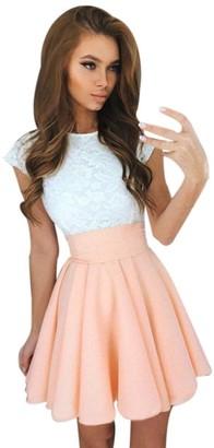 TUDUZ Womens Lace Party Cocktail Mini Dress Summer Casual Dress Elegant Short Sleeve Dresses (Black S)