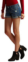 Aeropostale Womens Medium Wash Rip-And-Repair Denim Midi Shorts Blue
