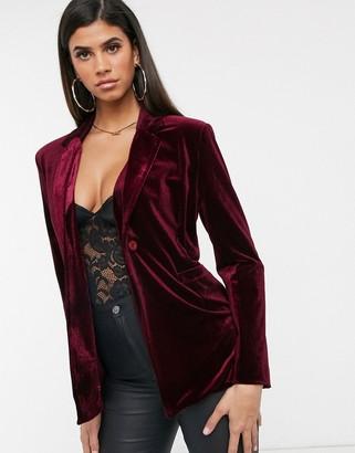 UNIQUE21 Unique 21 velvet blazer in wine-Red
