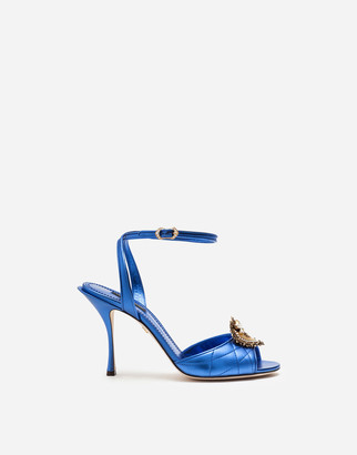Dolce & Gabbana Mordore Matelasse Nappa Leather Devotion Sandals