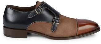 Mezlan Memphis Leather & Suede Colorblock Double Monk-Strap Dress Shoes