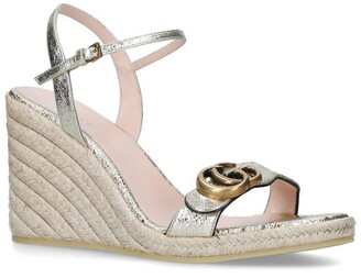 Gucci Metallic Double G Espadrille Wedge Sandals 85