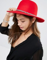 Brixton Wide Brim Felt Hat With Tassle Band In Red