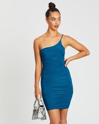 Missguided Slinky Skinny Strap One Shoulder Mini Dress