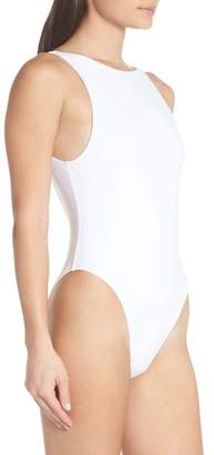 Nordstrom Something Navy Low Back One-Piece Swimsuit Exclusive)