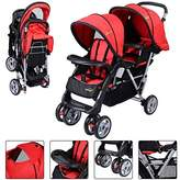Chicco New For Baby Foldable Twin Baby Double Stroller Kids Jogger Travel Infant Pushchair Red- PUNER Store by PUNER Store