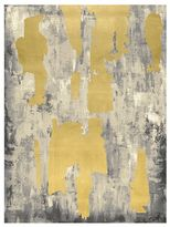 Pottery Barn Gray with Gold Leaf Abstract Canvas