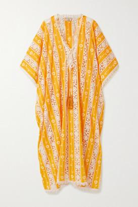 Miguelina Blair Tasseled Crochet-trimmed Cotton-voile Kaftan - Saffron