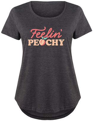Instant Message Plus Women's Tee Shirts HEATHER - Heather Charcoal 'Feelin Peachy' Scoop Neck Tee - Plus