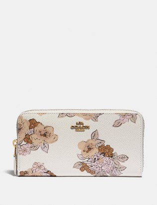 Coach Accordion Zip Wallet With Floral Bouquet Print