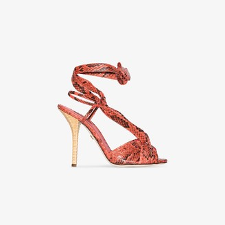 Dolce & Gabbana Coral 105 Python Effect Leather Sandals