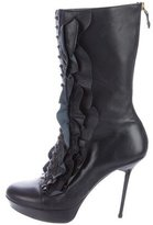 Just Cavalli Leather Ruffle-Accented Boots
