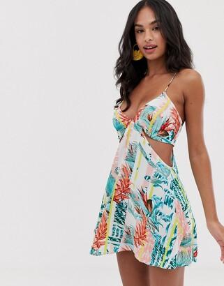Asos Design DESIGN cut out beach dress in stripe palm print-Multi