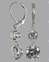 silver CZ double drop earrings