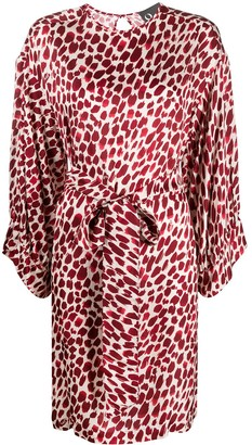 8pm Abstract-Print Tie-Waist Dress