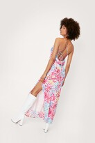 Thumbnail for your product : Nasty Gal Womens Abstract Print Satin Maxi Slip Dress - Purple - 12
