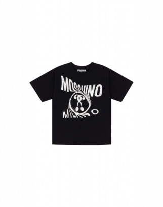 Moschino Distorted Double Question Mark Maxi T-shirt Unisex Black Size 4a It - (4y Us)