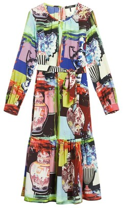 Max Mara Silk Printed Cassino Midi Dress