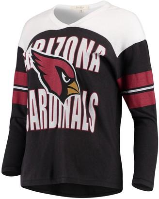 Women's Junk Food Black/White Arizona Cardinals Throwback Football Long Sleeve T-Shirt