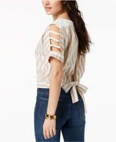 J.o.a. Striped Cutout Tie-Detail Top