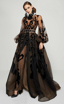 MNM Couture - 2369 Collared Sheer Illusion Evening Gown