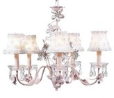 The Well Appointed House Pink Five Arm Crystal Flower Chandelier with White Petal Flower Chandelier Shades