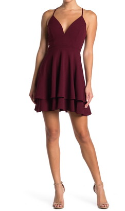 Love, Nickie Lew V-Neck Lace Back Skater Dress