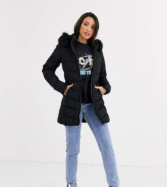 Only Tall Only Minea long line padded coat with faux fur hood-Black