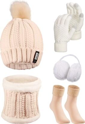 Satinior 5 Pieces Women Winter Ski Outing Set Knit Hat Scarf Gloves Earmuffs Stockings (Beige Khaki)